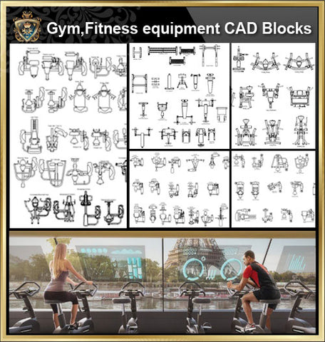 Fitness equipment cad blocks