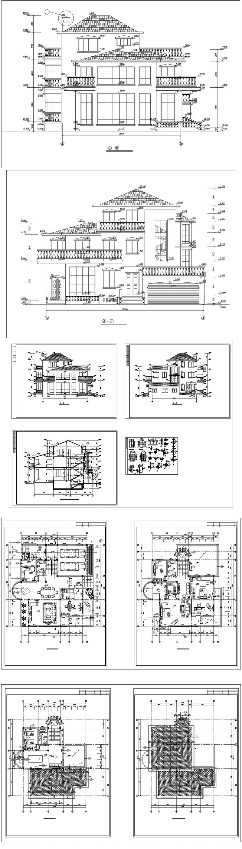 ★【Villa CAD Design,Details Project V.12】Chateau,Manor,Mansion,Villa@Autocad Blocks,Drawings,CAD Details,Elevation