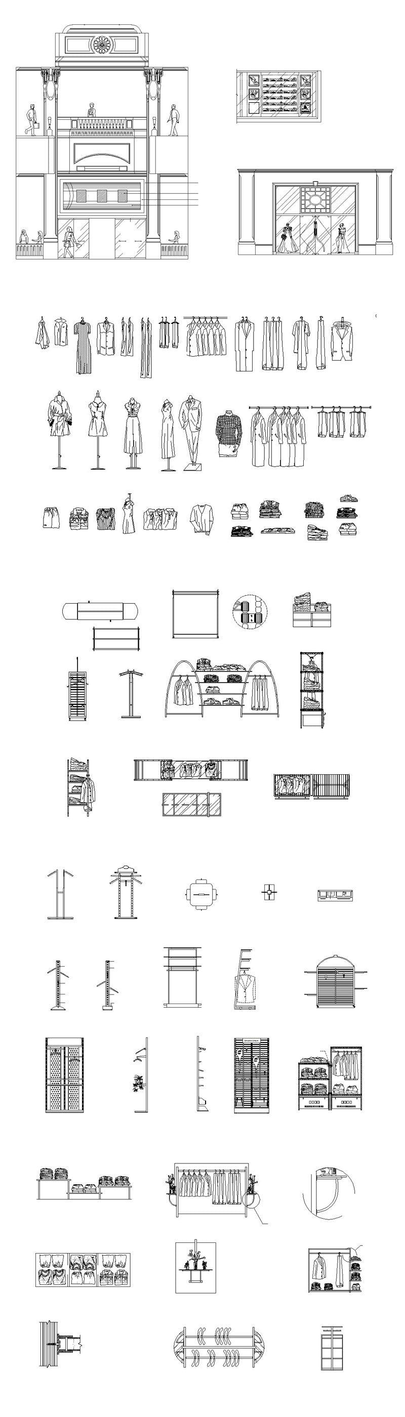 ★【Store CAD Design Blocks,Details Elevation Collection】@Boutiques, Clothing stores, women's wear, men's wear, store design-Autocad Blocks,Drawings,CAD Details,Elevation