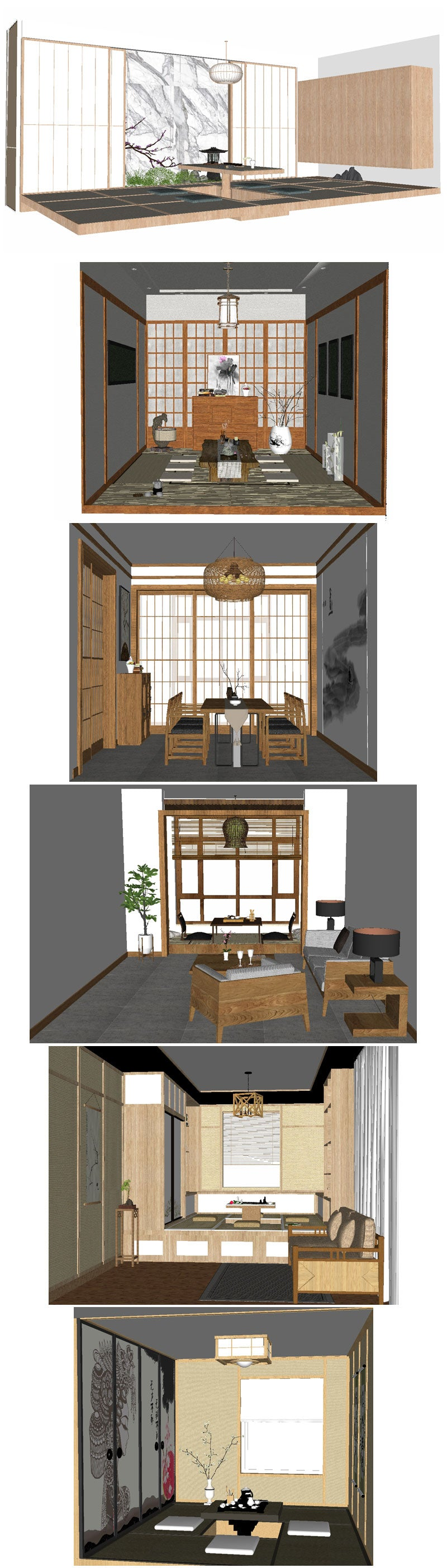 💎【Sketchup Architecture 3D Projects】12 Types of Japanese style tea room Sketchup 3D Models