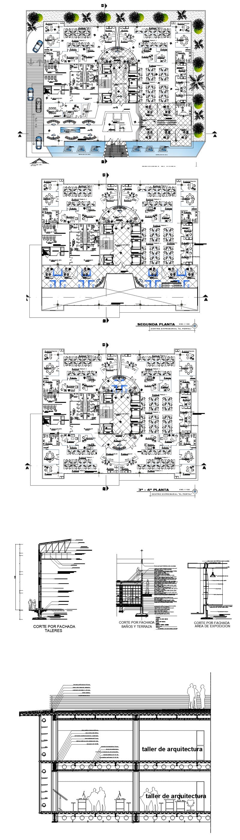 Office Commercial Building Mixed Business Building Cad Design Project V 11 Autocad Blocks Drawings Cad Details Elevation