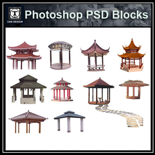 Photoshop PSD Chinese Pavilion 1 - CAD Design | Download CAD Drawings | AutoCAD Blocks | AutoCAD Symbols | CAD Drawings | Architecture Details│Landscape Details | See more about AutoCAD, Cad Drawing and Architecture Details