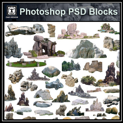 Photoshop PSD Landscape Stone 2 - CAD Design | Download CAD Drawings | AutoCAD Blocks | AutoCAD Symbols | CAD Drawings | Architecture Details│Landscape Details | See more about AutoCAD, Cad Drawing and Architecture Details
