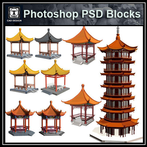Photoshop PSD Chinese Pavilion 2 - CAD Design | Download CAD Drawings | AutoCAD Blocks | AutoCAD Symbols | CAD Drawings | Architecture Details│Landscape Details | See more about AutoCAD, Cad Drawing and Architecture Details