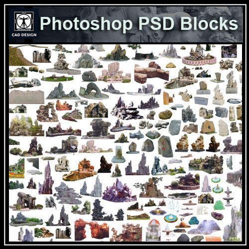 Photoshop PSD Landscape Stone 4 - CAD Design | Download CAD Drawings | AutoCAD Blocks | AutoCAD Symbols | CAD Drawings | Architecture Details│Landscape Details | See more about AutoCAD, Cad Drawing and Architecture Details