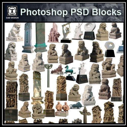 Photoshop PSD Landscape Chinese Statue 5 - CAD Design | Download CAD Drawings | AutoCAD Blocks | AutoCAD Symbols | CAD Drawings | Architecture Details│Landscape Details | See more about AutoCAD, Cad Drawing and Architecture Details