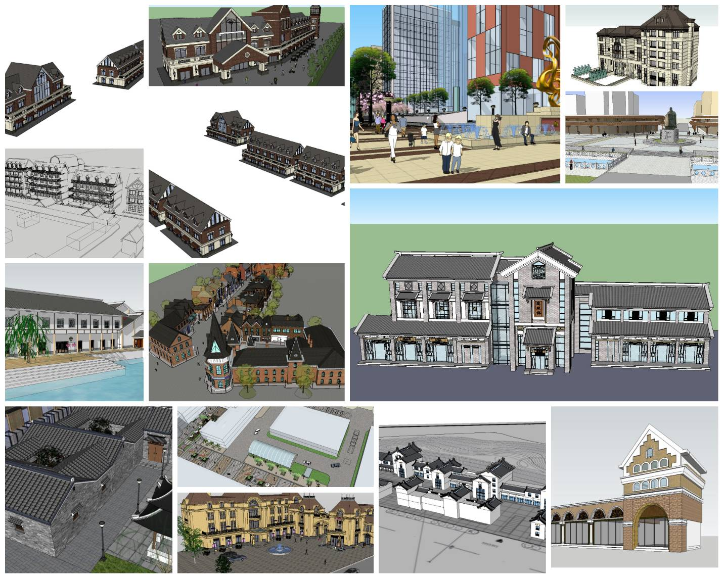 💎【Sketchup Architecture 3D Projects】15 Types of Commercial Street Design Sketchup Model V3