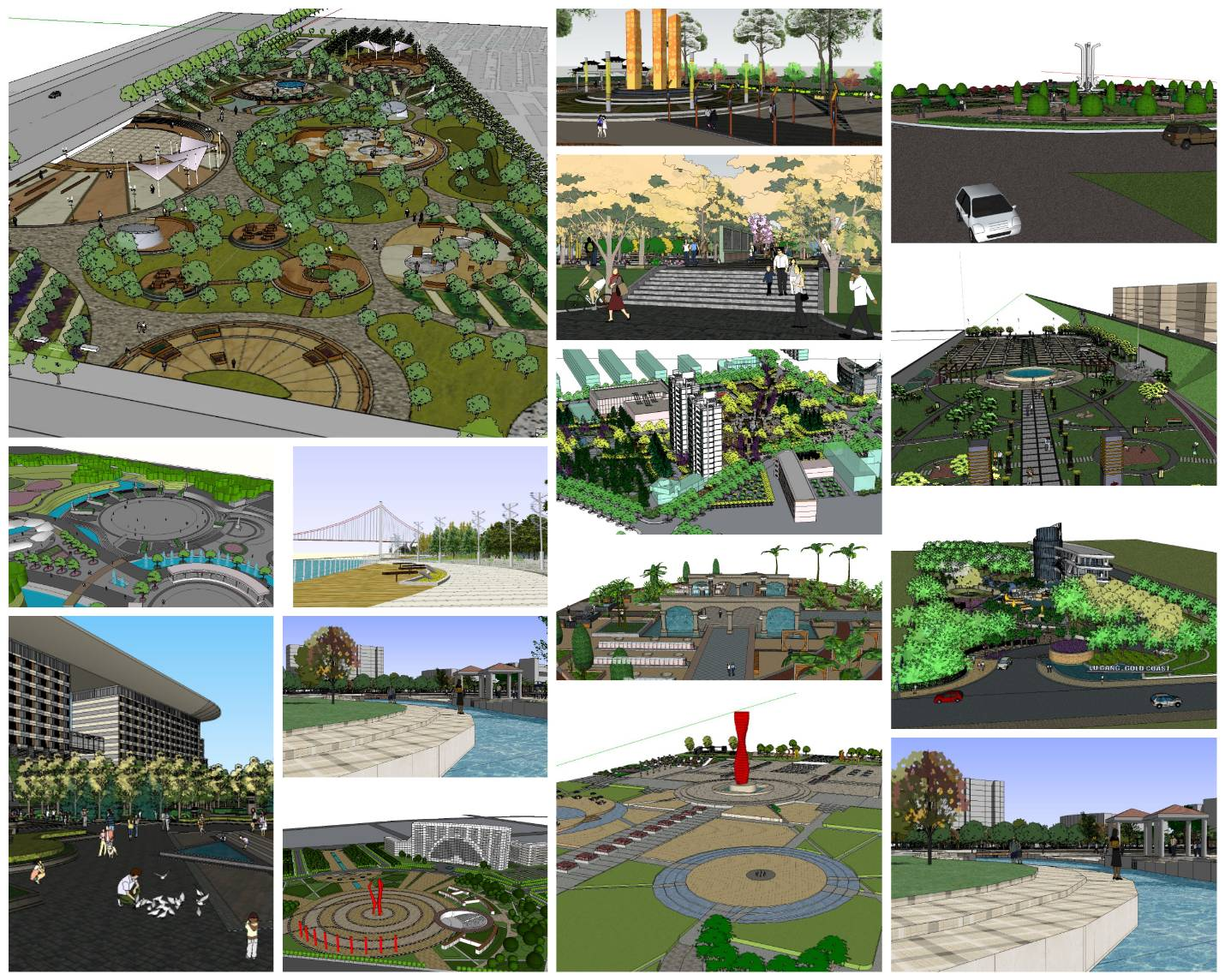 💎【Sketchup Architecture 3D Projects】15 Types of Plaza Landscape Sketchup Model V2