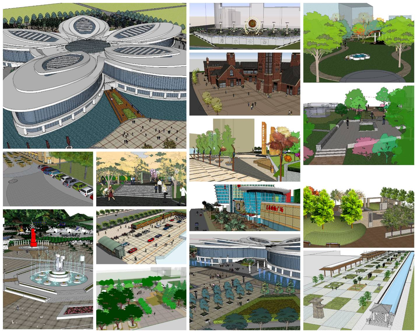 Sketchup Architecture 3D Projects】15 Types of Plaza ...