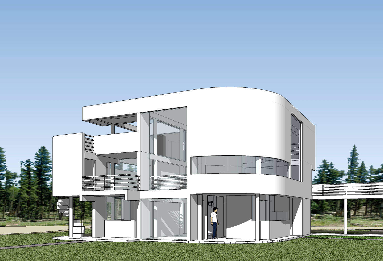 Sketchup 3d architecture models saltzman house richard for House cad