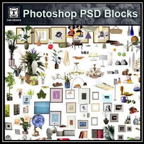 Free Photoshop PSD Blocks-Home Decoration & Home Accessories - CAD Design | Download CAD Drawings | AutoCAD Blocks | AutoCAD Symbols | CAD Drawings | Architecture Details│Landscape Details | See more about AutoCAD, Cad Drawing and Architecture Details