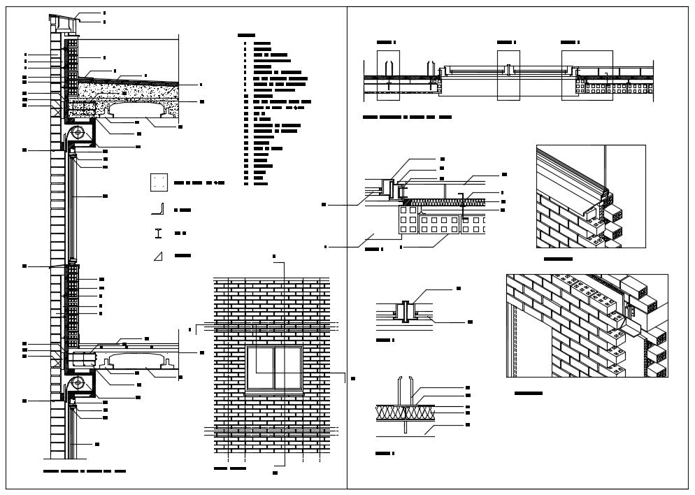 Horizontal and vertical section of brick detail drawing
