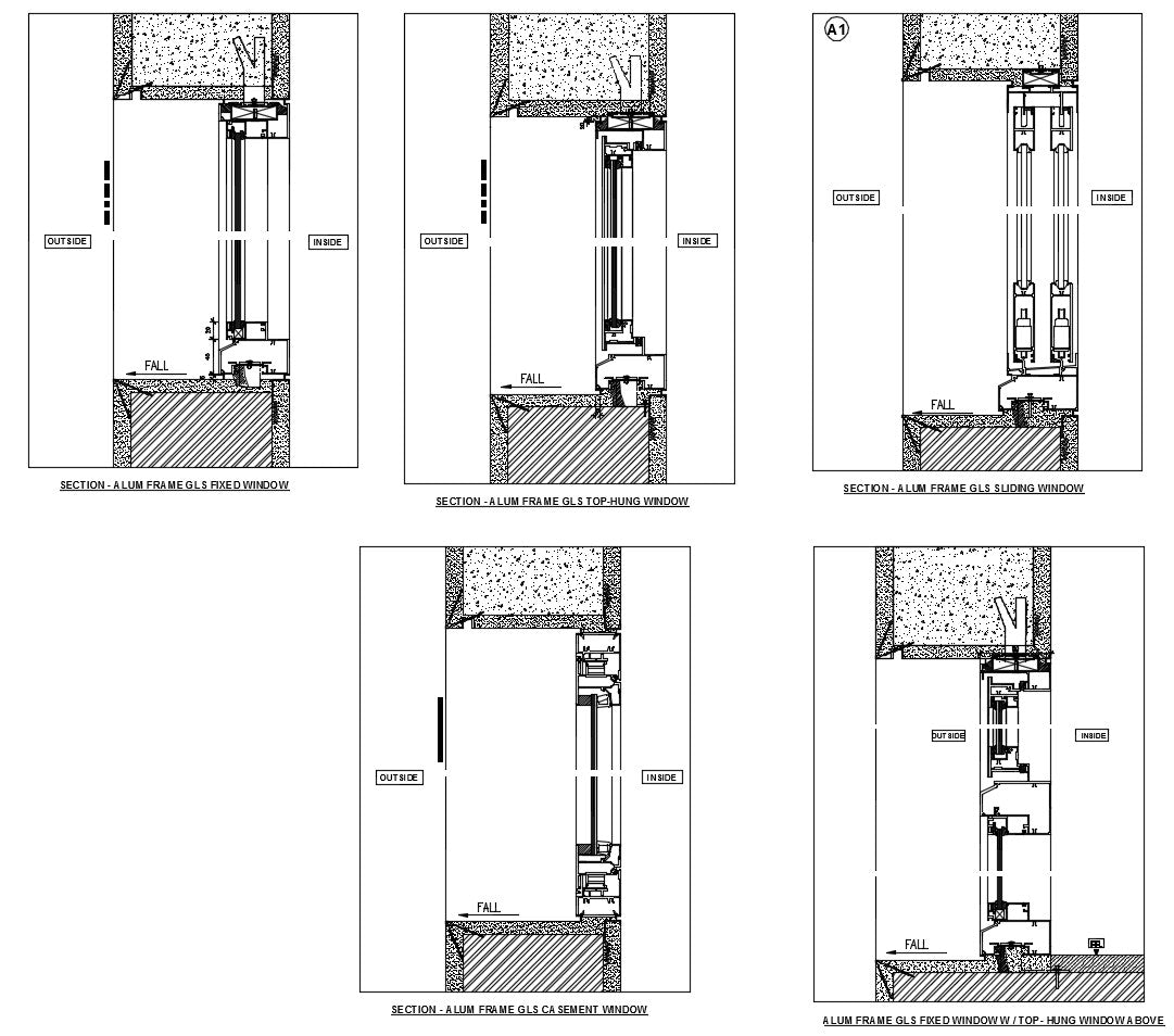 Installation of window , Section Detail, Plan Detail, Elevation detail with dimension and Detail.