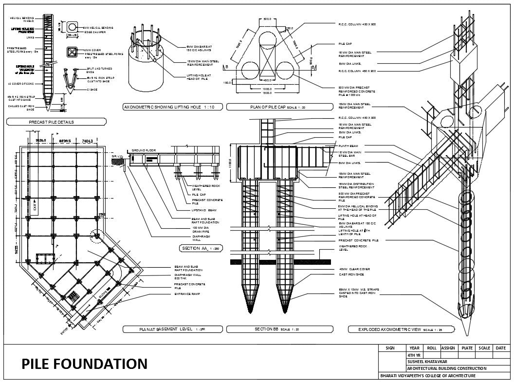 Pile foundation details cad design free cad blocks for Foundation pilings