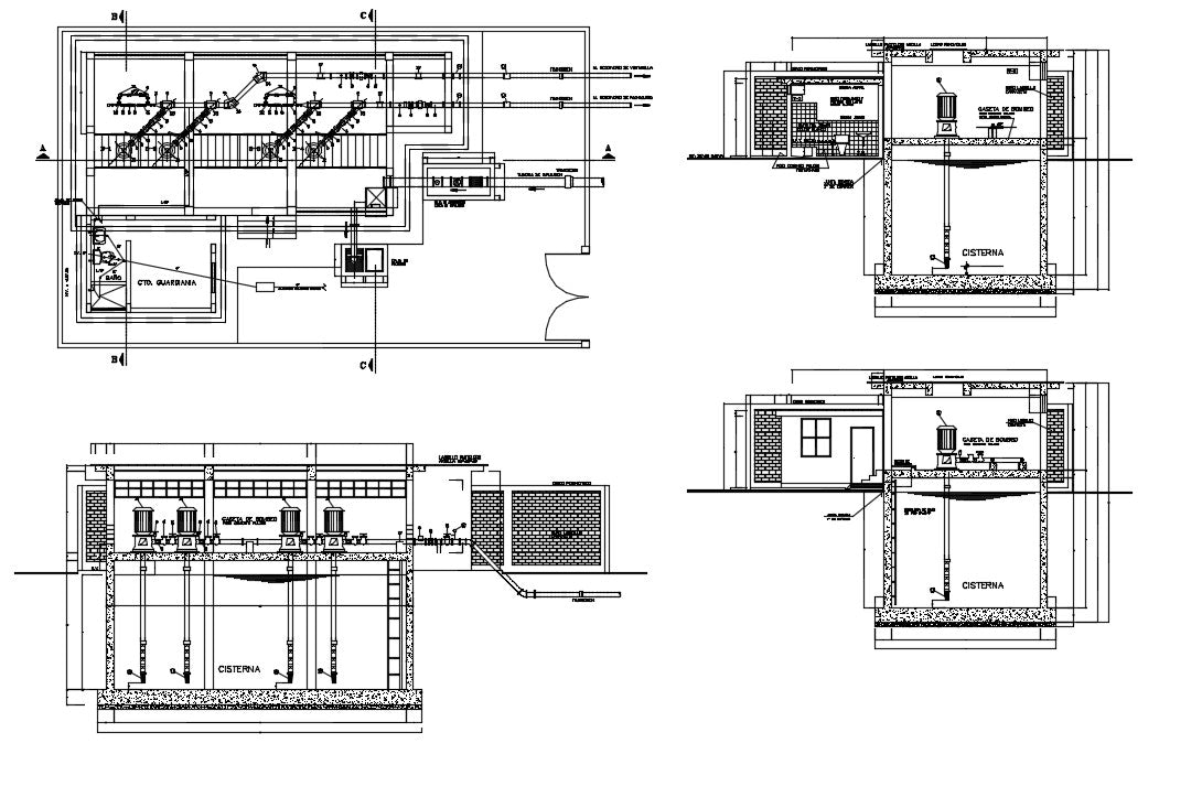 Water Supply Station Design. Detail Of Top Booster, Drain Connections Typical Domiciliary, Detail of Irrigation, Detail Of Drinking Water Connection. This Design Draw in autocad format.