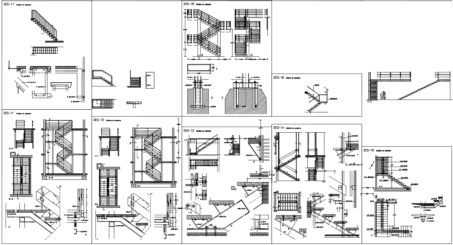 Detail drawing of stair design drawing with all detailing drawing in this auto cad file.