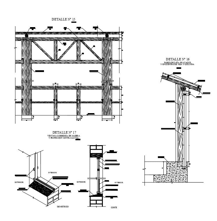Mud and woods joint and constructions detail drawing cad dwg files include plan, elevations, sections, working plan, elevations, sections and dwg files of mud and woods constructions detail.