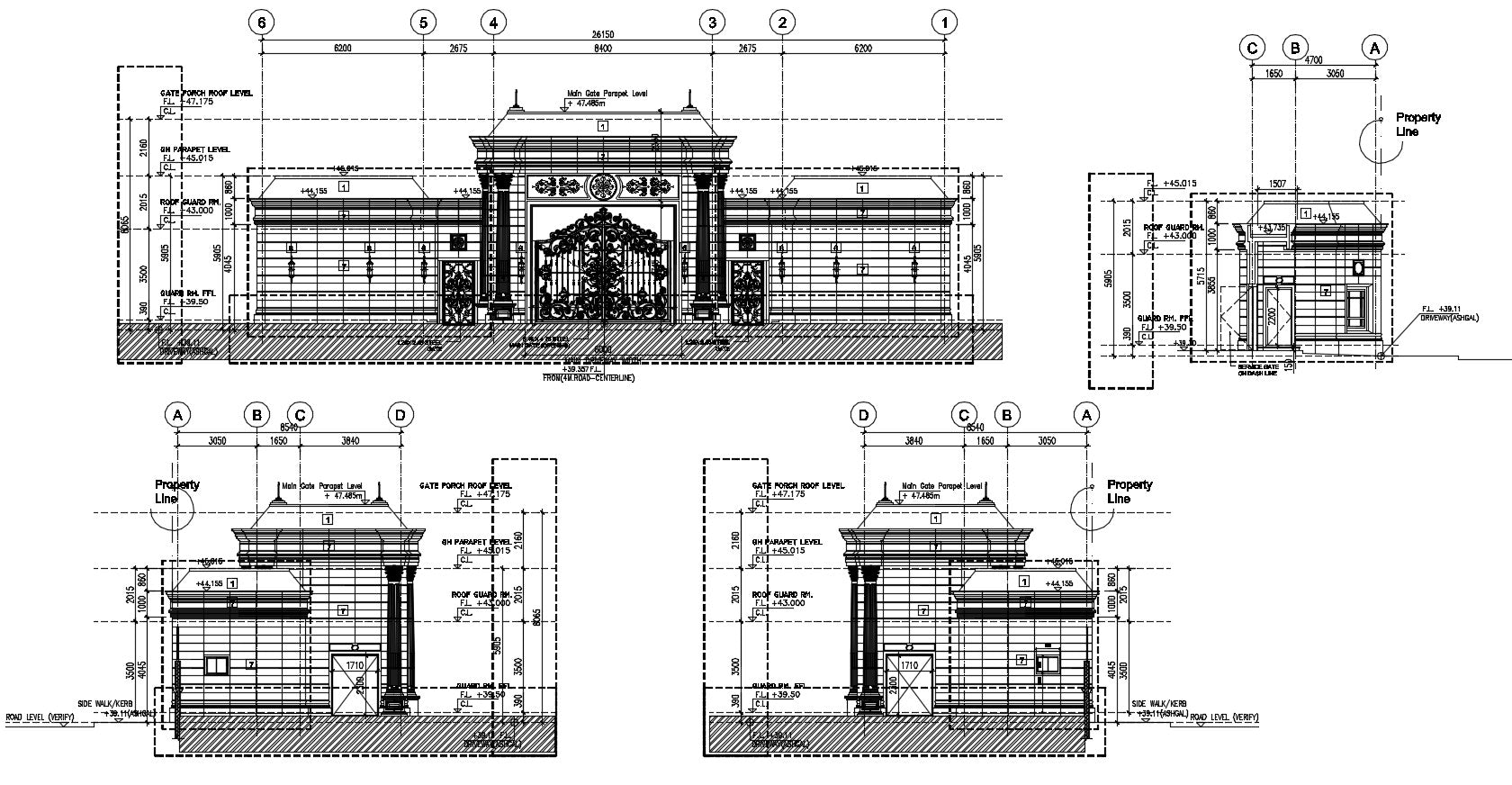 Main Gate Structure detail. FLOORING LAYOUT PLAN, INSIDE (REAR) ELEVATION, SECTION A-A, RIGHT SIDE ELEVATION, LEFT SIDE ELEVATION, ROOF PLAN, etc