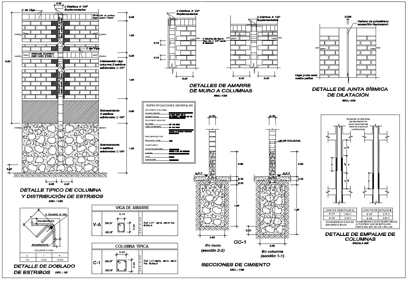 Perimeter wall section design drawing with all section and detailing in this auto cad file.
