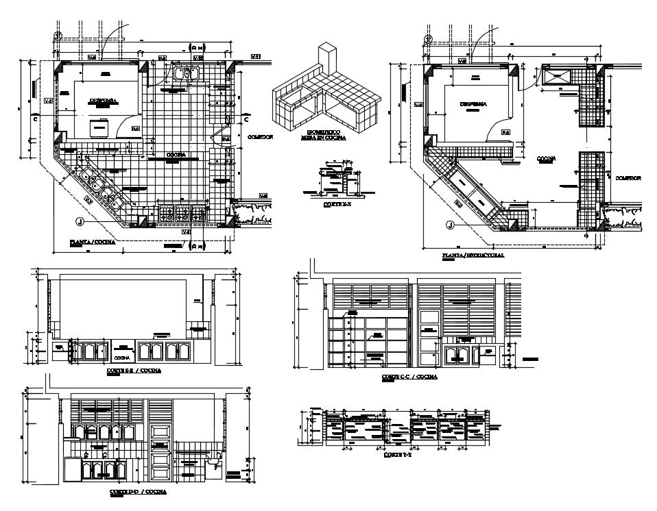 Kitchen detail and design for school cad files include this drawing floor plan, sections, elevations and elevations of kitchen design.