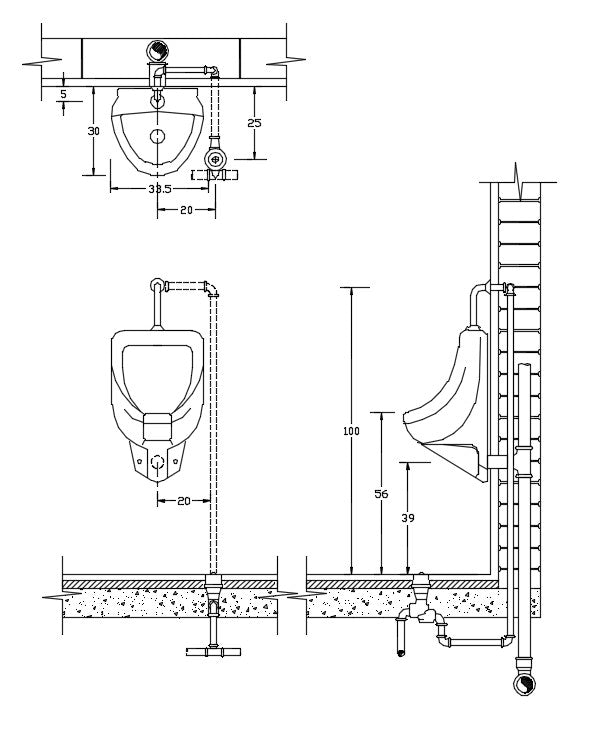 Urinal basin detail drawing file in DWG File, plan, elevation, & section detail in Drawing.
