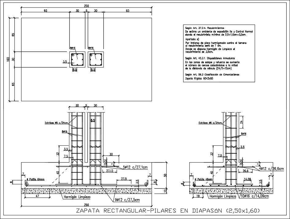 Rectangular footing pillars in diapason section design drawing in this auto cad file.