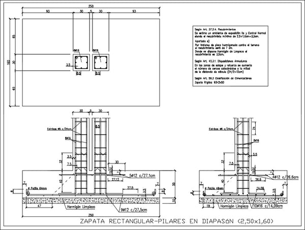 Rectangular footing pillars in diapason - CAD Design | Download CAD Drawings | AutoCAD Blocks | AutoCAD Symbols | CAD Drawings | Architecture Details│Landscape Details | See more about AutoCAD, Cad Drawing and Architecture Details