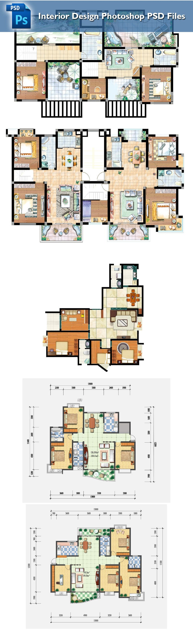 15 Types Of Interior Design Layouts Photoshop PSD Template V.2 ...