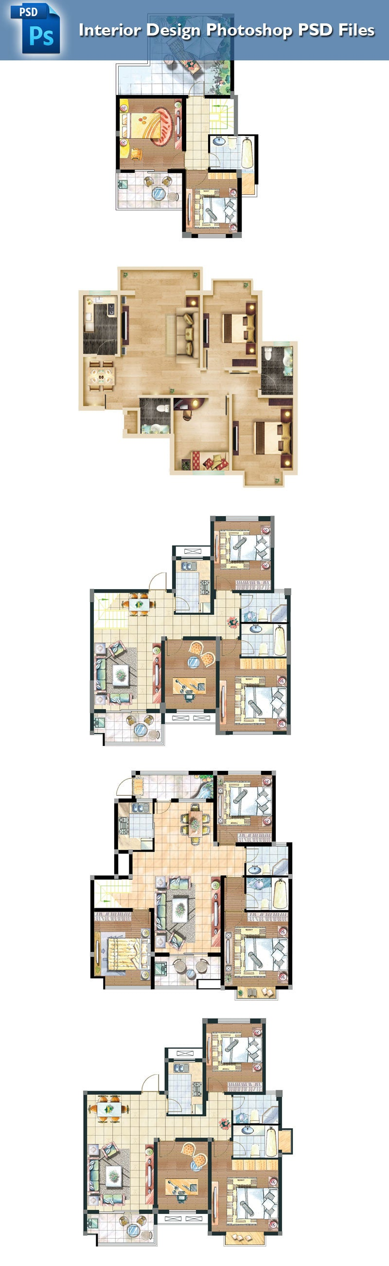 ... 15 Types Of Interior Design Layouts Photoshop PSD Template V.1 ...