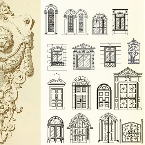 Ornamental Door & Window Bundle - CAD Design | Download CAD Drawings | AutoCAD Blocks | AutoCAD Symbols | CAD Drawings | Architecture Details│Landscape Details | See more about AutoCAD, Cad Drawing and Architecture Details