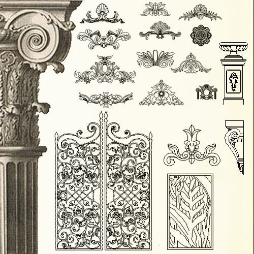 Ornamental Parts of Buildings 3 - CAD Design | Download CAD Drawings | AutoCAD Blocks | AutoCAD Symbols | CAD Drawings | Architecture Details│Landscape Details | See more about AutoCAD, Cad Drawing and Architecture Details