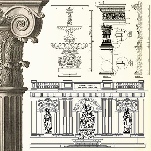 Ornamental Parts of Buildings 2 - CAD Design | Download CAD Drawings | AutoCAD Blocks | AutoCAD Symbols | CAD Drawings | Architecture Details│Landscape Details | See more about AutoCAD, Cad Drawing and Architecture Details