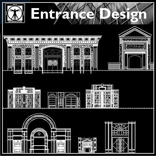 Entrance Design - CAD Design | Download CAD Drawings | AutoCAD Blocks | AutoCAD Symbols | CAD Drawings | Architecture Details│Landscape Details | See more about AutoCAD, Cad Drawing and Architecture Details