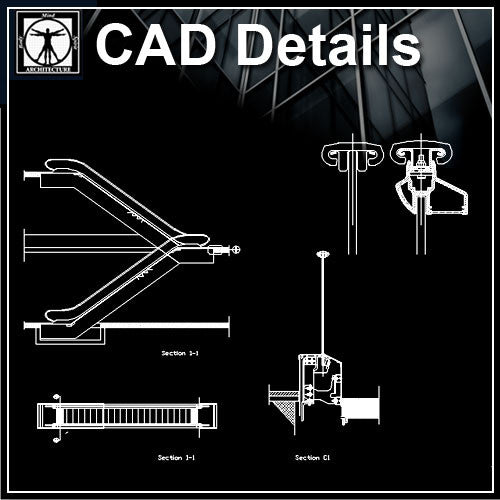 Free Escalator Detail 1 - CAD Design | Download CAD Drawings | AutoCAD Blocks | AutoCAD Symbols | CAD Drawings | Architecture Details│Landscape Details | See more about AutoCAD, Cad Drawing and Architecture Details