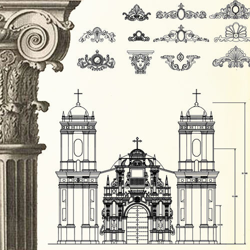 Ornamental Parts of Buildings 12 - CAD Design | Download CAD Drawings | AutoCAD Blocks | AutoCAD Symbols | CAD Drawings | Architecture Details│Landscape Details | See more about AutoCAD, Cad Drawing and Architecture Details