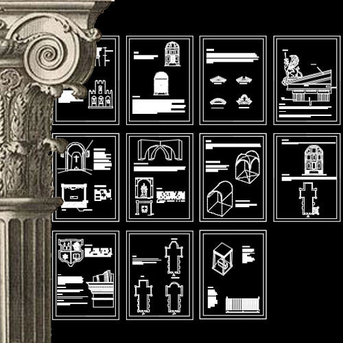Ornamental Parts of Buildings 7 - CAD Design | Download CAD Drawings | AutoCAD Blocks | AutoCAD Symbols | CAD Drawings | Architecture Details│Landscape Details | See more about AutoCAD, Cad Drawing and Architecture Details