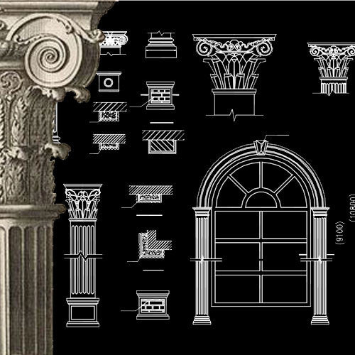 Ornamental Parts of Buildings 14 - CAD Design | Download CAD Drawings | AutoCAD Blocks | AutoCAD Symbols | CAD Drawings | Architecture Details│Landscape Details | See more about AutoCAD, Cad Drawing and Architecture Details