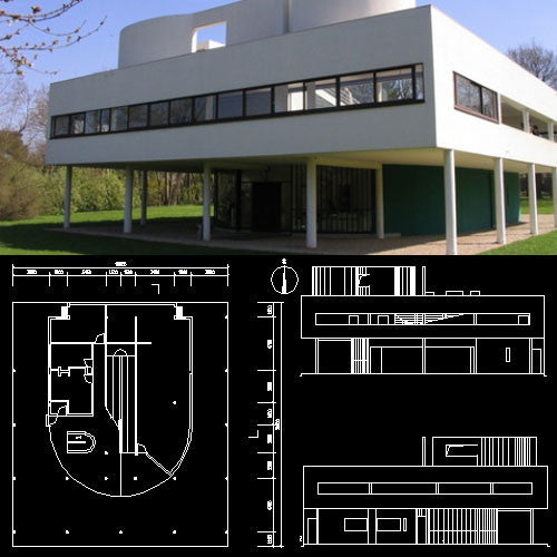 Villa Savoye - Le corbusier-Autocad Drawings download - CAD Design | Download CAD Drawings | AutoCAD Blocks | AutoCAD Symbols | CAD Drawings | Architecture Details│Landscape Details | See more about AutoCAD, Cad Drawing and Architecture Details