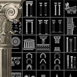 Ornamental Parts of Buildings 8 - CAD Design | Download CAD Drawings | AutoCAD Blocks | AutoCAD Symbols | CAD Drawings | Architecture Details│Landscape Details | See more about AutoCAD, Cad Drawing and Architecture Details