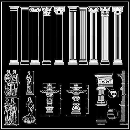 Architectural decorative elements 2 - CAD Design | Download CAD Drawings | AutoCAD Blocks | AutoCAD Symbols | CAD Drawings | Architecture Details│Landscape Details | See more about AutoCAD, Cad Drawing and Architecture Details