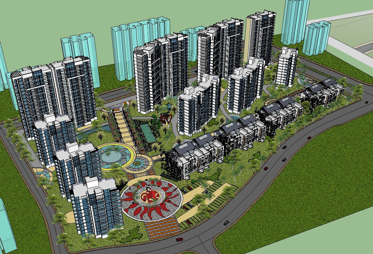 【10 Large-Scale Residential Construction and Landscape Sketchup Models】