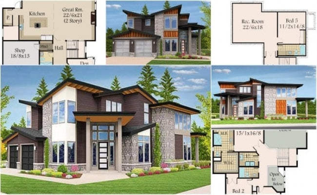 Bungalows Design CAD Drawings