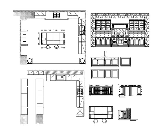 Various Kitchen Cabinet Autocad Blocks & Elevation V.2】All