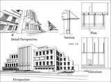 ★【Office, Commercial building, mixed business building, Conference room, bank,Headquarters CAD Design Drawings V.4】@Autocad Blocks,Drawings,CAD Details,Elevation