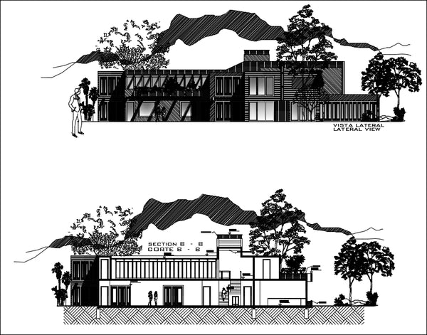 Modern Residence Bungalows CAD Design