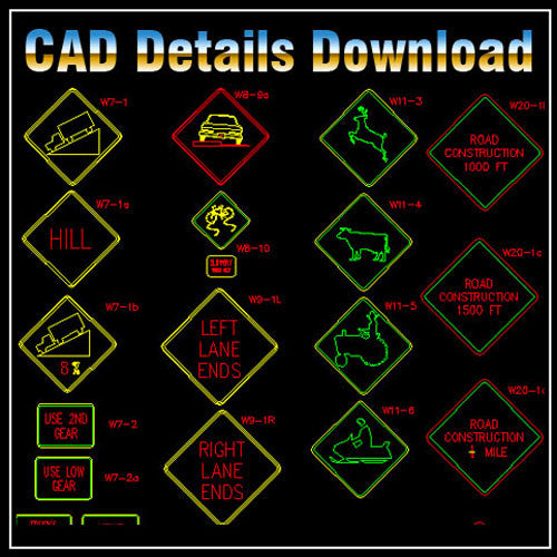 Sign Library - CAD Design | Download CAD Drawings | AutoCAD Blocks | AutoCAD Symbols | CAD Drawings | Architecture Details│Landscape Details | See more about AutoCAD, Cad Drawing and Architecture Details