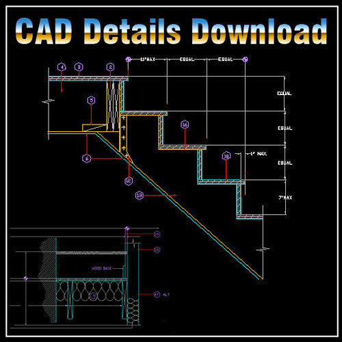 Stair Details - CAD Design | Download CAD Drawings | AutoCAD Blocks | AutoCAD Symbols | CAD Drawings | Architecture Details│Landscape Details | See more about AutoCAD, Cad Drawing and Architecture Details
