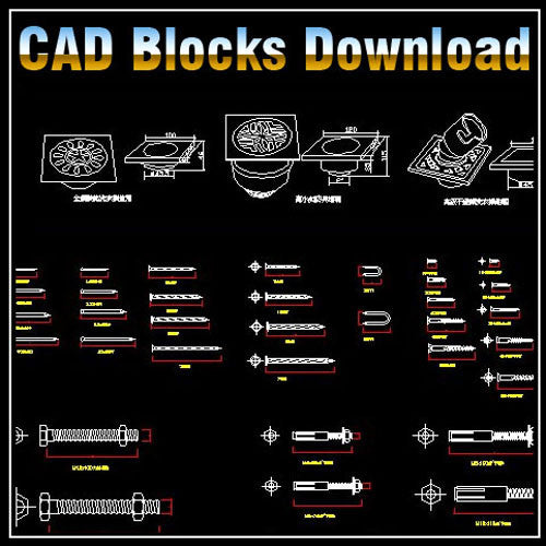 Hardware Blocks - CAD Design | Download CAD Drawings | AutoCAD Blocks | AutoCAD Symbols | CAD Drawings | Architecture Details│Landscape Details | See more about AutoCAD, Cad Drawing and Architecture Details