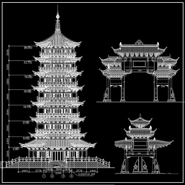 Chinese architecture cad design free cad blocks for Online architecture drawing