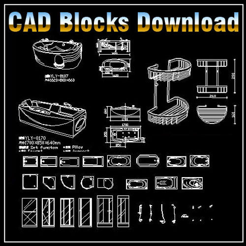 Bathroom Blocks Bundle - CAD Design | Free CAD blocks and drawings